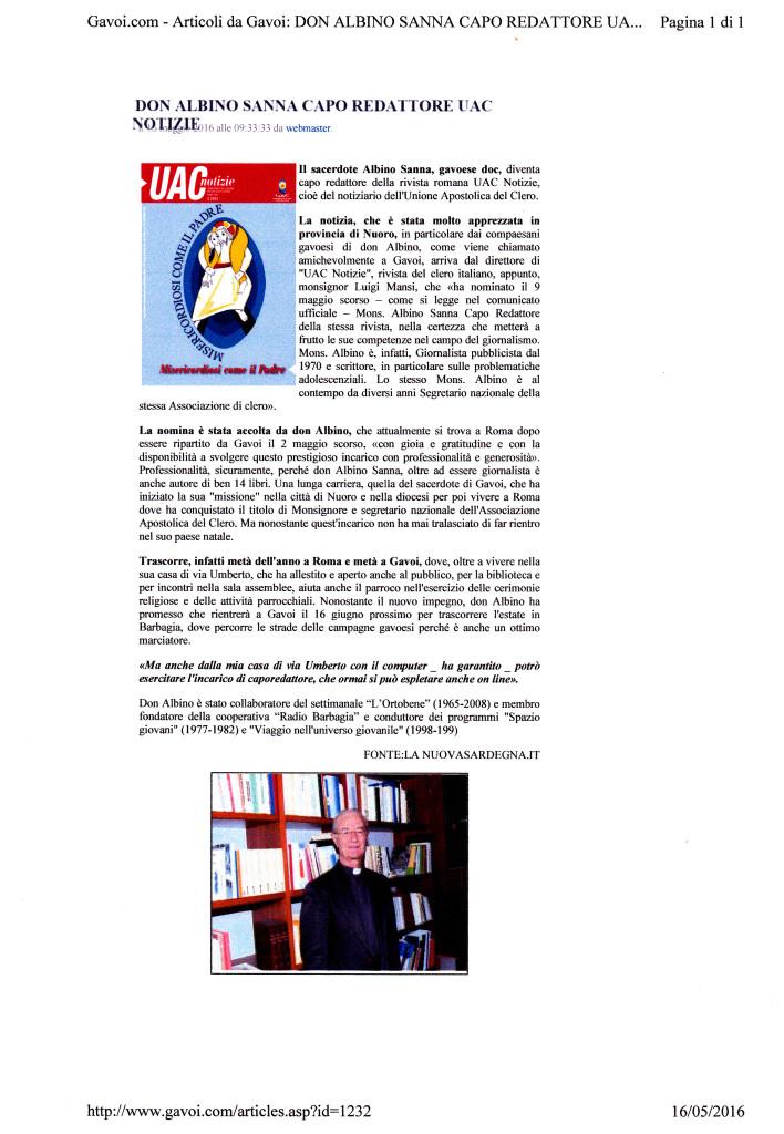 don Albino Capo redattore di UAC Notizie